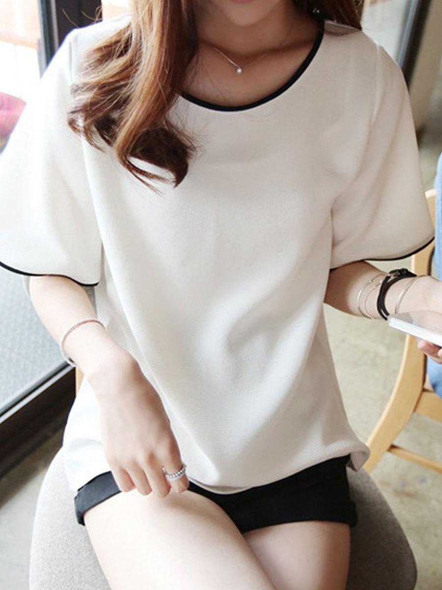 Round Neck  Plain Short Sleeve T-Shirts