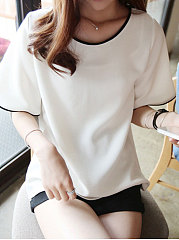 Round Neck  Plain Short Sleeve T-Shirts