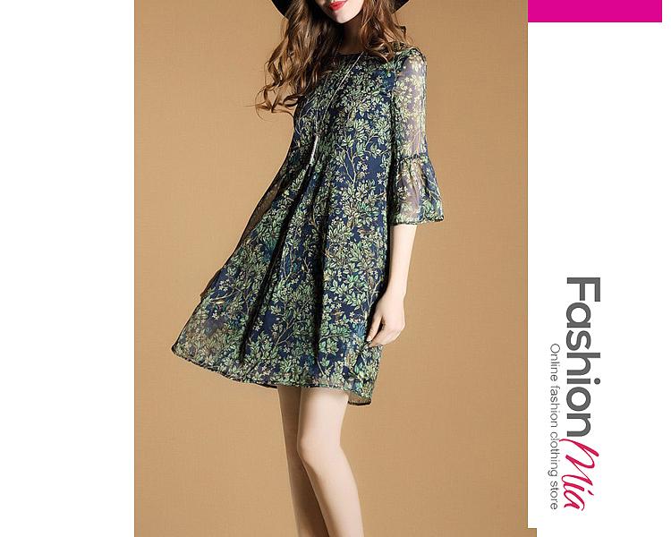 Image of Round Neck Printed Chiffon Flowy Shift Dress