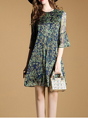 Round Neck  Printed  Chiffon Flowy Shift Dress