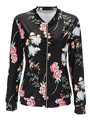 Collarless  Zips  Floral  Long Sleeve Jackets