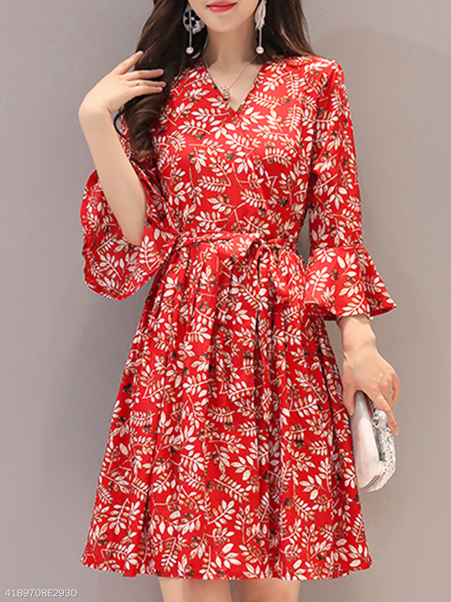 Surplice  Ruffled Hem  Belt  Floral Printed Skater Dress