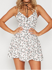 Spaghetti Strap Tiny Floral Printed Mini Skater Dress