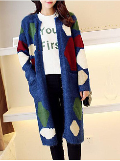 Color Block  Long Sleeve Coats