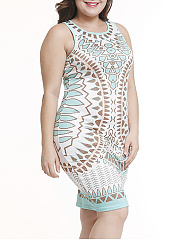 Round Neck  Abstract Print Plus Size Bodycon Dress