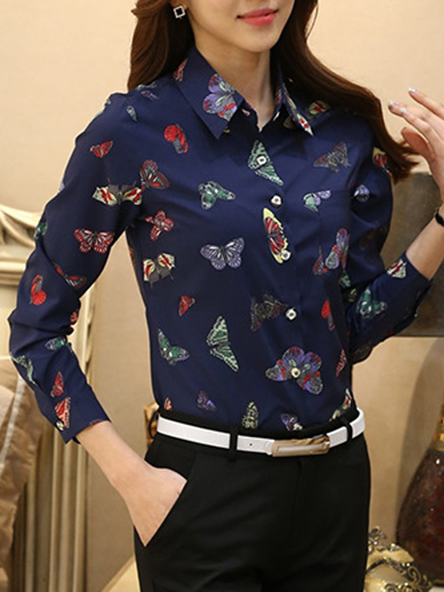 Turn Down Collar Butterfly Printed Blouse