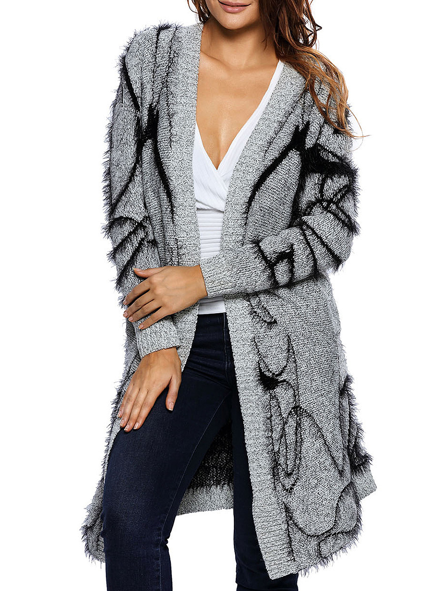 Womens Mohair Cardigan With Jacquard Patterns
