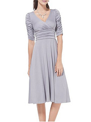 V Neck  Plain Skater Dress