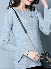 Round Neck  Asymmetric Hem  Plain  Long Sleeve Sweaters Pullover