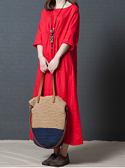Round Neck  Plain Loose Maxi Dress