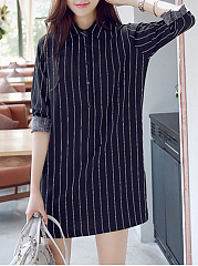 Turn Down Collar  Striped Shift Dress