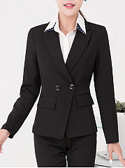 Notch Lapel Flap Pocket Plain Blazer