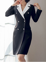 Notch Lapel  Double Breasted Flap Pocket  Colouring Bodycon Dress