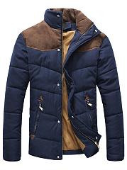 Band-Collar-Patchwork-Zips-Plain-Men-Jacket