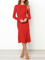 Crew Neck  Asymmetric Hem  High Stretch  Plain Bodycon Dress