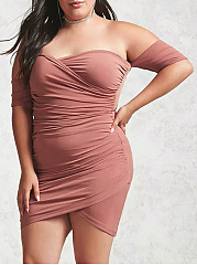 Off Shoulder  Asymmetric Hem Ruched  Plain Plus Size Bodycon Dress
