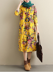 Round Neck  Printed Midi Casual Shift Dress