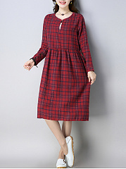 Midi Casual Linen Round Neck  Plaid Shift Dress