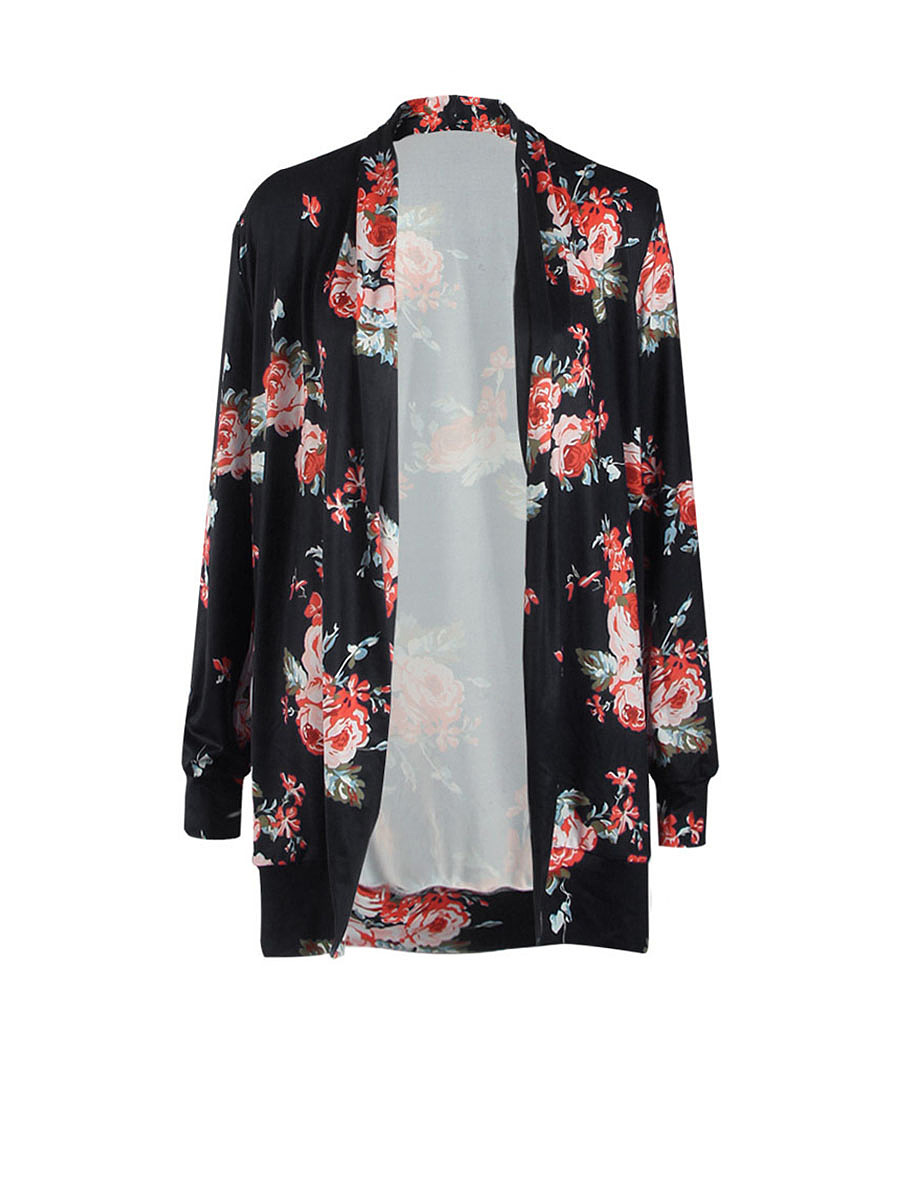 Collarless Trendy Floral Printed Cardigan