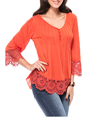 V-Neck Decorative Lace Hem Plain Long Sleeve T-Shirt