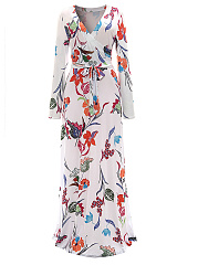 V-Neck Floral Printed Belt Maxi Dress