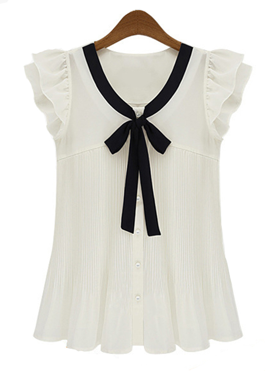 Tie Collar Bowknot Sleeveless T-Shirt