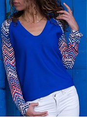 V Neck  Patchwork T-Shirts