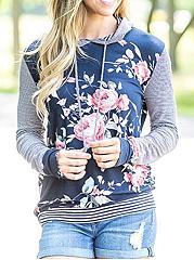 Floral-Printed-Striped-Hoodie