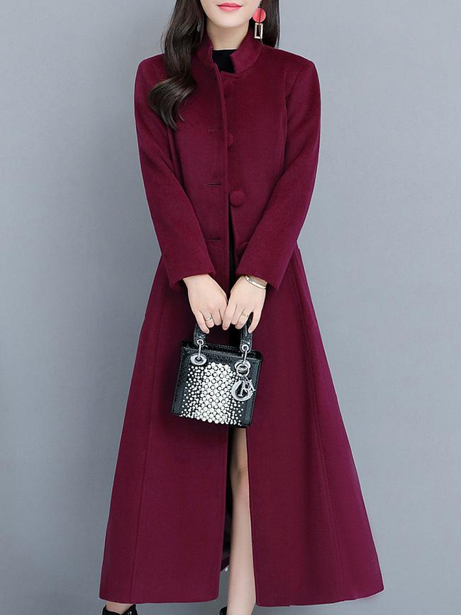 Image of Fashionmia Band Collar Single Breasted Plain Long Sleeve Coats