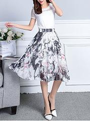Elastic-Waist-Printed-Flared-Chiffon-Midi-Skirt
