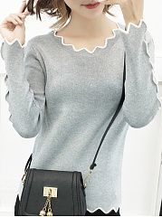 Round Neck  Contrast Piping  Plain  Long Sleeve Sweaters Pullover