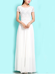 Round Neck  Patchwork  Lace Plain Maxi Dress