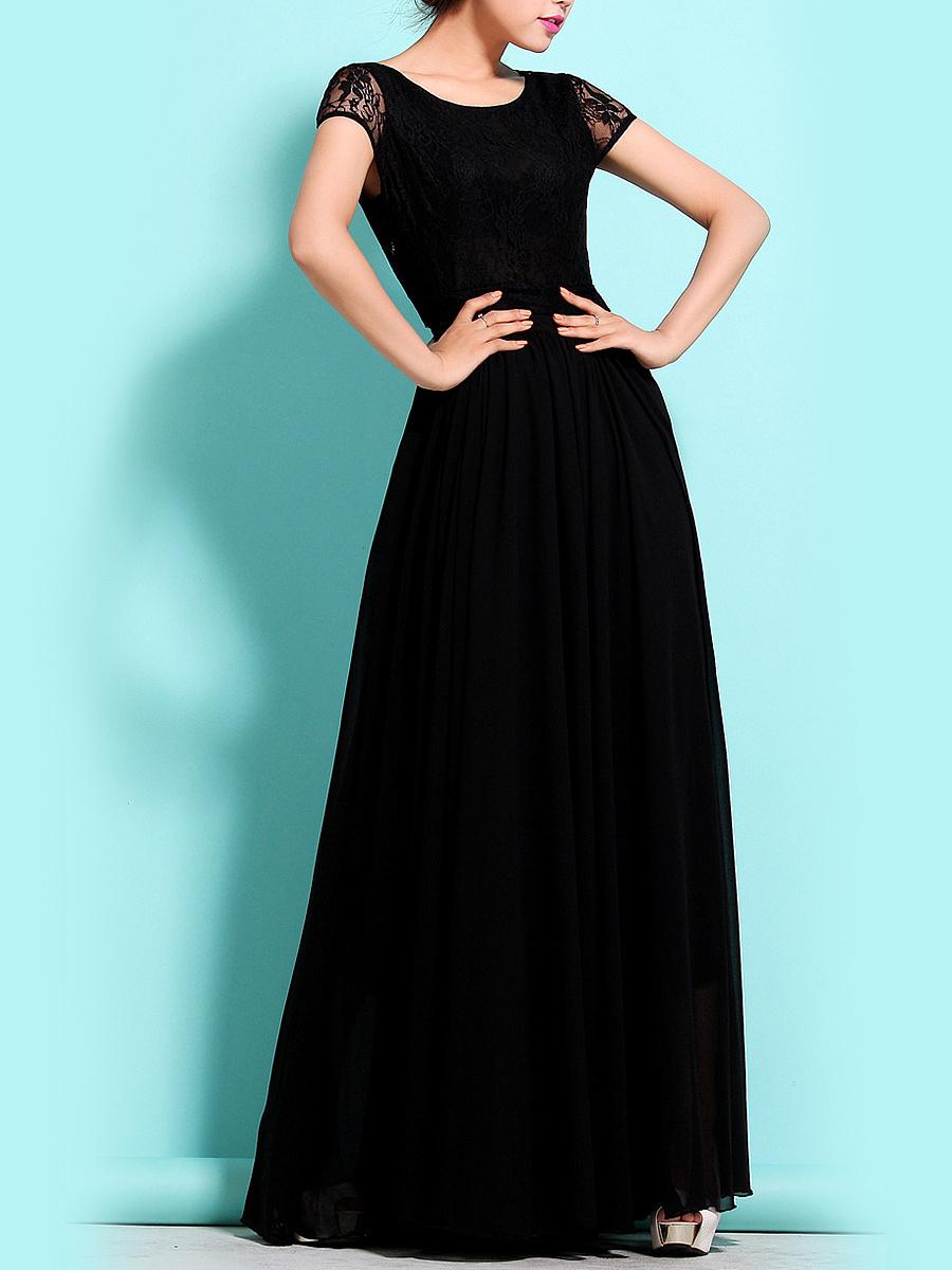 Round Neck Patchwork Plain Maxi Dress - fashionMia.com
