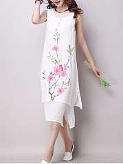 Round Neck Side Slit Floral Loose Maxi Dress