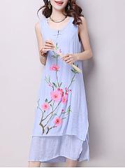 Round-Neck-Side-Slit-Floral-Loose-Maxi-Dress