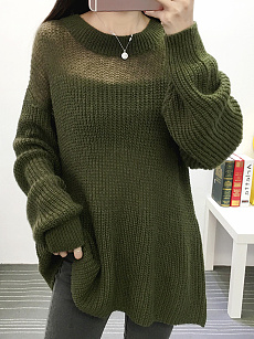 Round Neck  Loose Fitting Patchwork  Plain Pullover