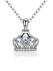 Crown Pendant Necklace With O Chain Necklace