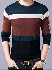Color Block Men Round Neck Sweater