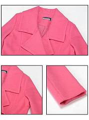Fold-Over Collar  Plain  Long Sleeve Coats