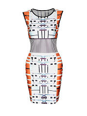 Fabulous Printed Sleeveless Round Neck Bodycon Dress
