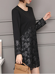 Round Neck  Patchwork  Plain Lace Shift Dress