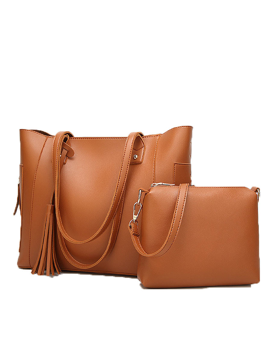 Two Pieces Plain Tassel Women Hand Bags