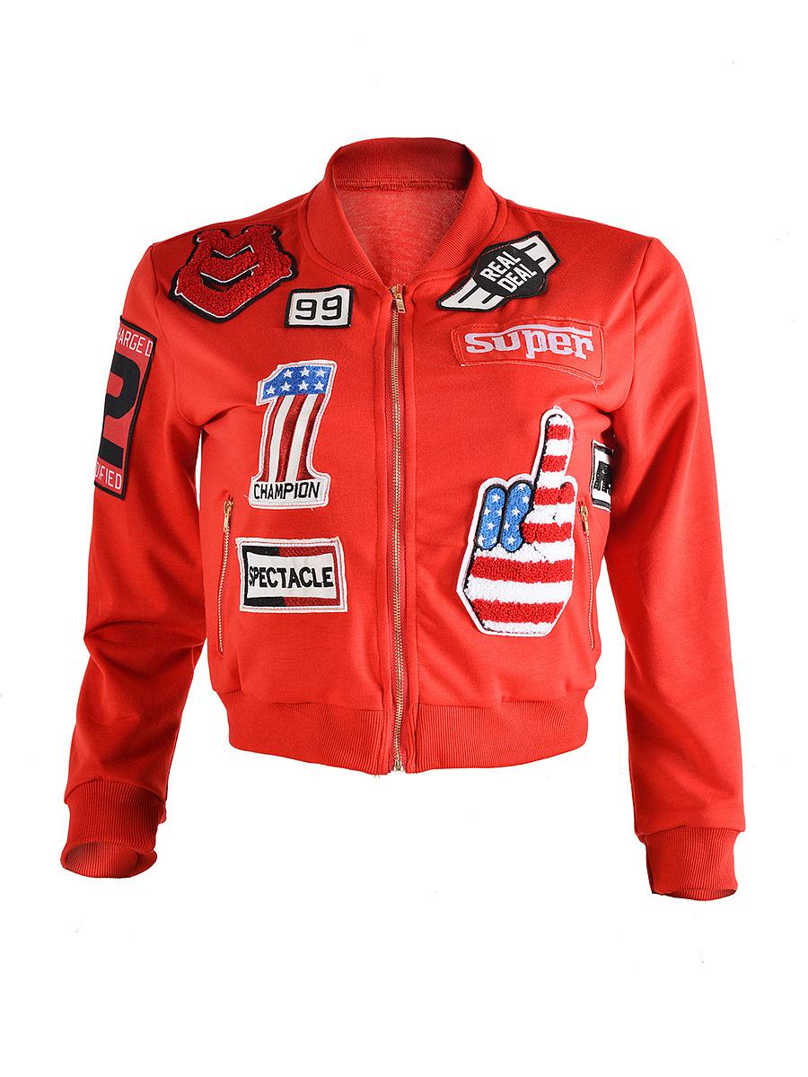 Zips  Badge  Long Sleeve Jackets