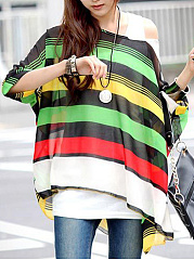One Shoulder Color Block Hollow Out Striped Batwing Sleeve Tunic