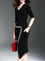 ... V-Neck Plain Blend Shift Dresses