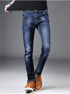 Designed Ripped Light Wash Slim-Leg Mens Jeans