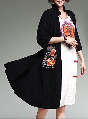 Band Collar  Abstract Print  Half Sleeve Trench Coats