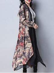 Lapel-Asymmetric-Hem-Printed-Longline-Cardigan