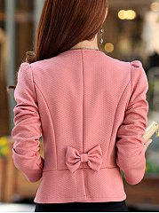 Crew Neck  Bowknot  Bust Darts  Plain  Long Sleeve Blazers