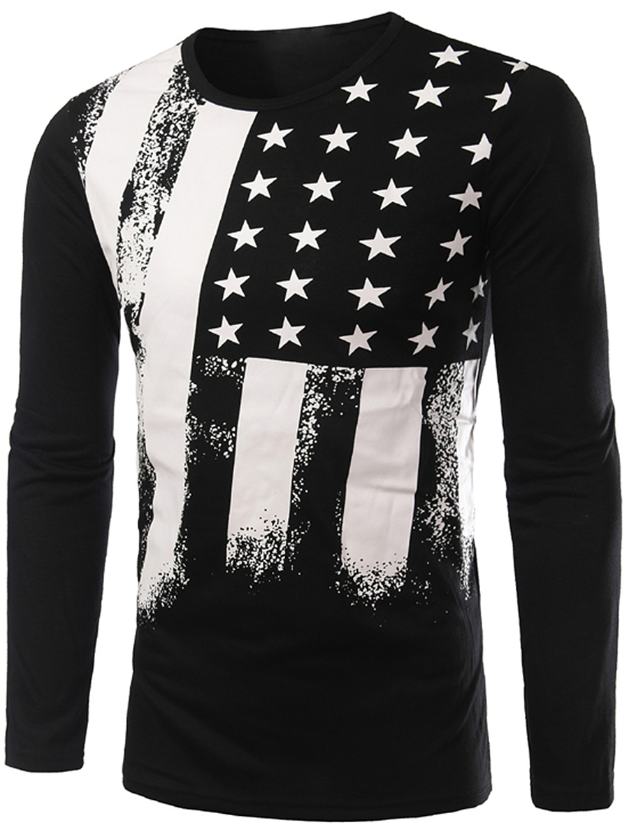 Round Neck National Flag Printed T-Shirt